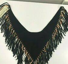 New Braefair Western Shirt Leather Overlay Fringe wooden beads