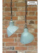Lovely size 1950's Thorlux Parabolic Vintage Enamel Pendant Lamp/Lights REWIRED