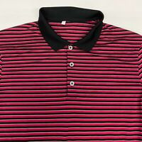 Adidas Polo Shirt Men's Large Short Sleeve Red White Black Striped Polyester