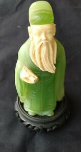 VINTAGE ASIAN  GREEN JADE COLOR CELLULOID FIGURAL HOLY MAN CONFUCIUS