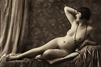 Antique NUDE WOMAN Black Pearl Necklace 1920s Vintage Photo 4x6 Sepia Reprint