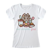 PUSHEEN  Eat Dessert First T Shirt Official Ladies Skinny  NEW S M L XL XXL