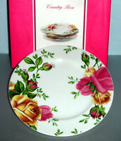 Royal Albert COUNTRY ROSE 4 Piece Salad Dessert Plate Set New Boxed