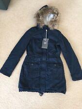 NWT Abercrombie & Fitch Women's Meg Sherpa Lined Parka Coat Outerwear Navy Sz. L