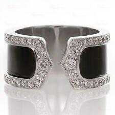 CARTIER Double C Decor 18k Diamond Black Lacquer $14,500 Large 50 Ring