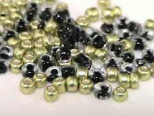 30g X 11/0 Black & Gold Mixto Color Vidrio Seed Beads APPOX 2mm P73