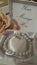 WEDDING PEARL & CRYSTAL CHARM BRACELET BRIDESMAID FLOWER GIRL GIFT THANK YOU