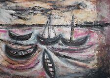 Vintage European fauvist oil painting seascape fishing boats