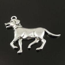 Antiqued Silver Tone Dog Animal Alloy Charm Pendant 52*35mm 10pcs