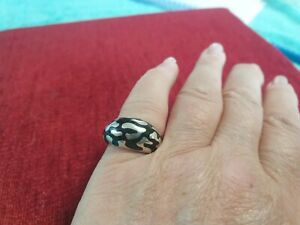 Quirky Silver & enamel ring - size O/P