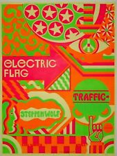 Electric Flag, Traffic & Steppenwolf 1968 Concert Poster - Signed by Artist