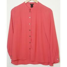 4ec6b72d81018d Ann Taylor Factory petites womens blouse SP button up pink long sleeve  polyester