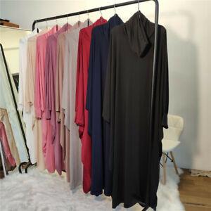 Muslim Abaya Jilbab Women Maxi Dress Kaftan Farasha Robe Prayer Islamic Kimono