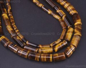 "Natural Gemstone Tiger's Eye Tube Spacer Beads 4mm 6mm 8mm 10mm 12mm 16mm 15.5"""