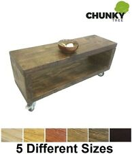 COFFEE TABLE BEDSIDE TABLE 12X2 SIDE CABINET RUSTIC SOLID PINE CUBE