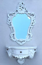 Espejo de pared blanco ovalado + Consola con cajón Barroco baño 50x76