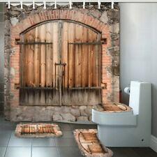 3D Retro Lock Wooden Door Shower Curtain Toilet Seat Cover Rugs Bath Mats Sets