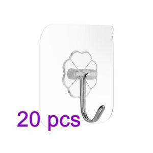 PVC 20x Selbstklebend Haken Magische Wiederverwendbar Transparenter Klebehaken