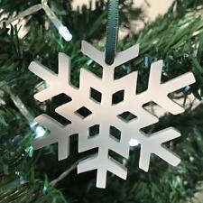 Light Grey Mat Crystal Snowflake Christmas Tree Decorations & Green Ribbon x 10