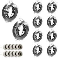 10er Set Einbauring Einbaurahmen GU10 LED Satin Nickel gebürstet Silber Optik