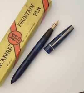SWAN BLACKBIRD FOUNTAIN PEN c1940s, BLUE MARBLE, B NIB, AS FOUND, WITH BOX
