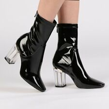 Public Desire Black Shiny Chloe Clear Perspex Heel Ankle Boots UK 5 38