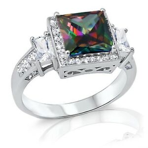 Mystic Rainbow Princess Simulated Diamond Halo Sterling Silver Cocktail Ring