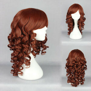 Fashion Long Red Brown Wavy Curly Women Girl Cosplay Party Hair Wig Wigs + Cap