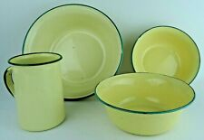 Vintage Set 4 items Cream Enamel Metal Bowls Large Mug Camping Retro Kitchenalia