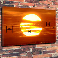 """Star Wars Tie Fighter Sunset Printed Box Canvas Picture A1.30""""x20"""" - 30mm Deep"""