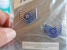 Two United States Air Force Technical Sergeant Chevrons Lapel Badges