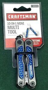 CRAFTSMAN 10-in-1 Mini MULTI TOOL Blue 938840 Snips Knife Screwdriver Awl File