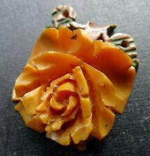 rose flower pendant for necklace -R401 vintage art deco carved Bakelite amber 3D