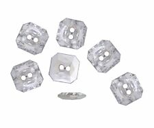20 BOUTONS FANTAISIES STRASS TRANSPARENT 11x11x3mm - COUTURE SCRAPBOOKING