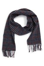 BARBOUR Classic Tweeds Check Wool Scarf in Navy/Merlot 70X10 NWT Made in UK
