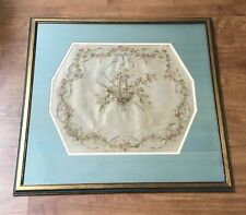 Antique Framed French Silk Embroidery Art Flowers Ribbon Painters Brush Palette