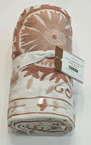 """Pottery Barn Arella Embroidered Table Throw 50"""" x 50"""" Floral Blush Woven"""
