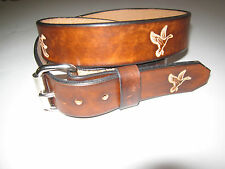 CUSTOM MADE GENUINE LEATHER  BELT  BROWN WITH  DUCKS 1 1/2 WIDE