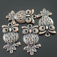 30pcs Antique Style Copper Tone Alloy Owl Bird Pendant Charms Jewelry Craft 28mm