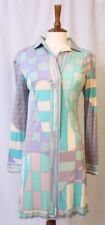 Rare Vintage 60s Emilio Pucci Pure Silk Jersey Pastel Geometric Shift Dress 10