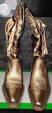 Bronze Metallic Cowboy Boots w Studs and Fringe by Steve Madden, Size 8M, NWB
