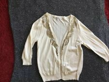 Cardigan Cream Gold Bead Detail Round Neck Size 14 Forever New
