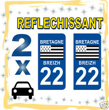 2 stickers REFLECHISSANT département 22 rétro-réfléchissant immatriculation AUTO