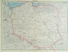 Antique Map Of Poland 1947 Cracow Kielce Poznan Warsaw