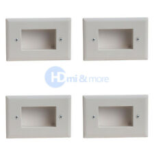 4x Wall Plate Recessed Easy Mount Low Voltage Cable Slim Fit White