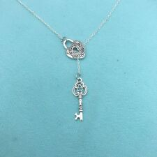 Beautiful Antique LOCK with KEY Lariat Style Y Necklace.