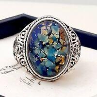 Gorgeous Vintage Blue Fire Opal Glass Ornate Design Silvertone Ring - Size O