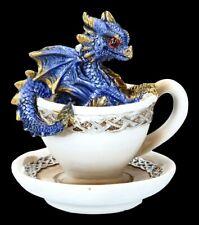 Drache in Tasse Figur - Dracuccino - blau - Fantasy Drachenjunges Dekostatue