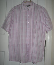 Mens George Pink Cotton Short Sleeve Formal/Casual Shirt Size: L(MT26)