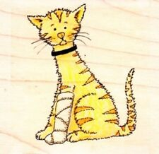 PLASTERED CAT - Wood Mounted Rubber Stamp - Funstamps / Personal Impressions
